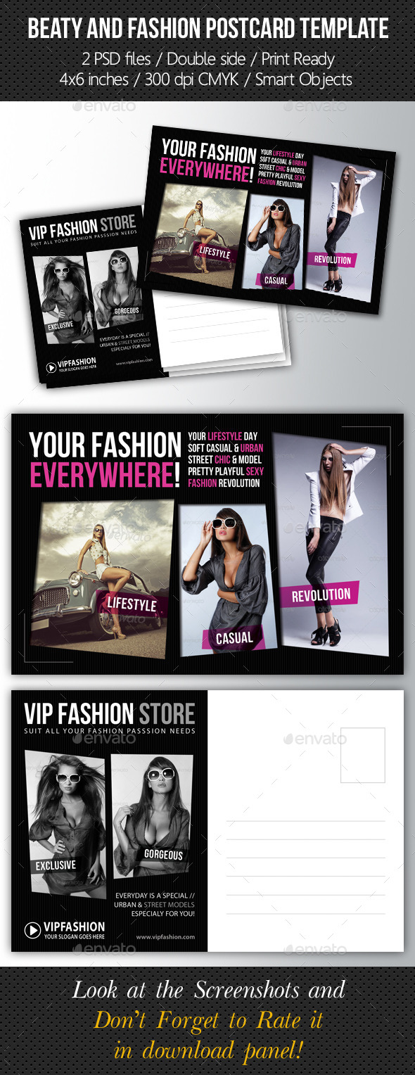 GraphicRiver Fashion and Beauty Postcard Template V02 9317928