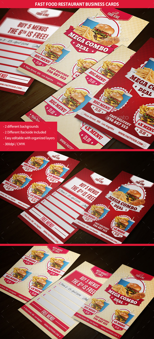 GraphicRiver Restaurant Fast Food Business Cards 9318047