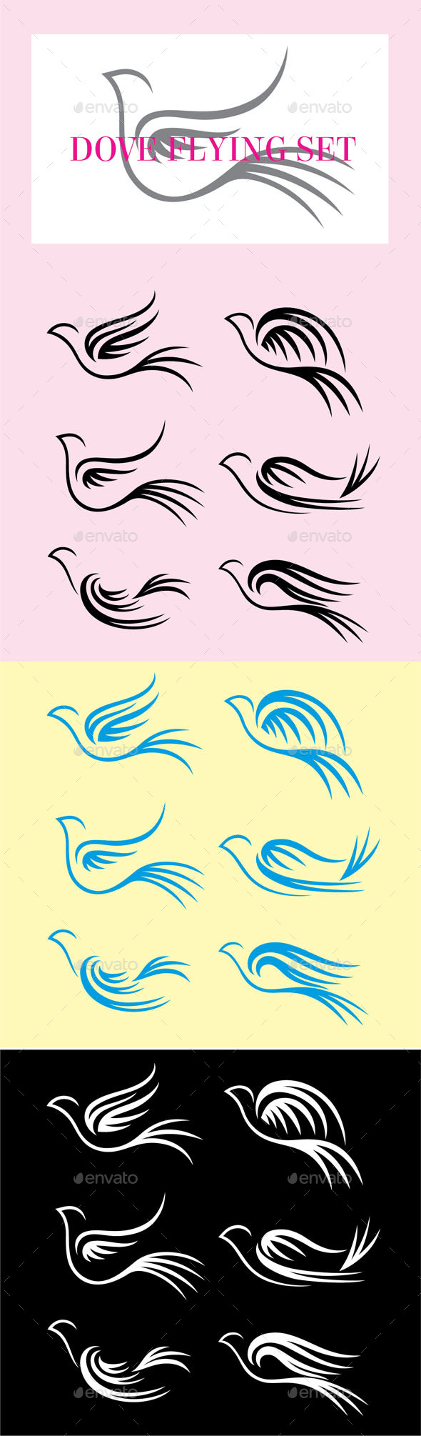 GraphicRiver Dove Flying Set 9318090