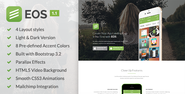 EOS - A Responsive Bootstrap 3 App Landing Page - Apps Technology