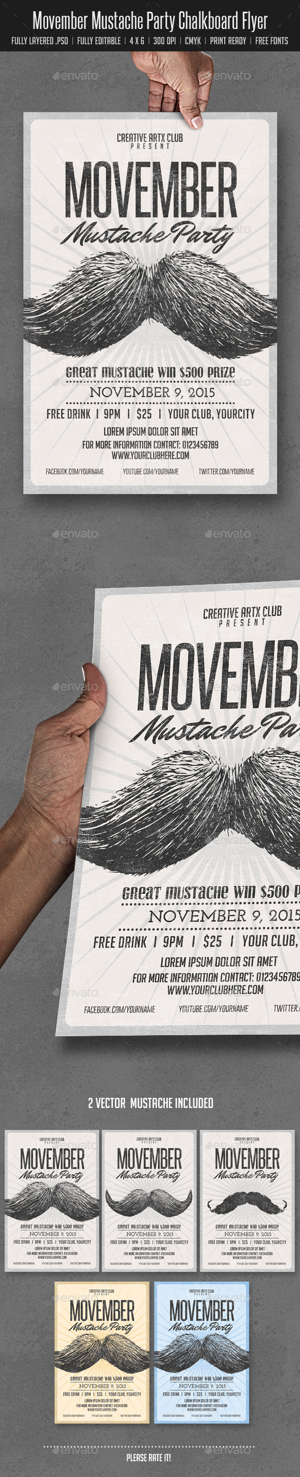 GraphicRiver Movember Mustache Party 9284526