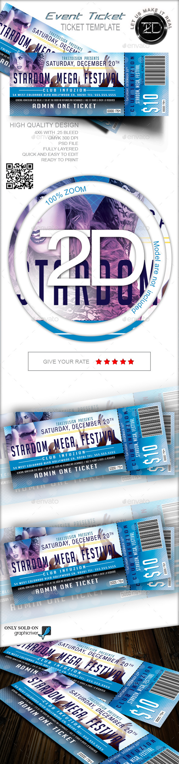 GraphicRiver Print Ready Event Ticket 9318614