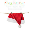 Christmas Hat Santa claus hanging on a rope with clothespins - PhotoDune Item for Sale