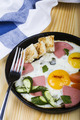 Scrambled Eggs with Sausage Cucumber and Croutons - PhotoDune Item for Sale