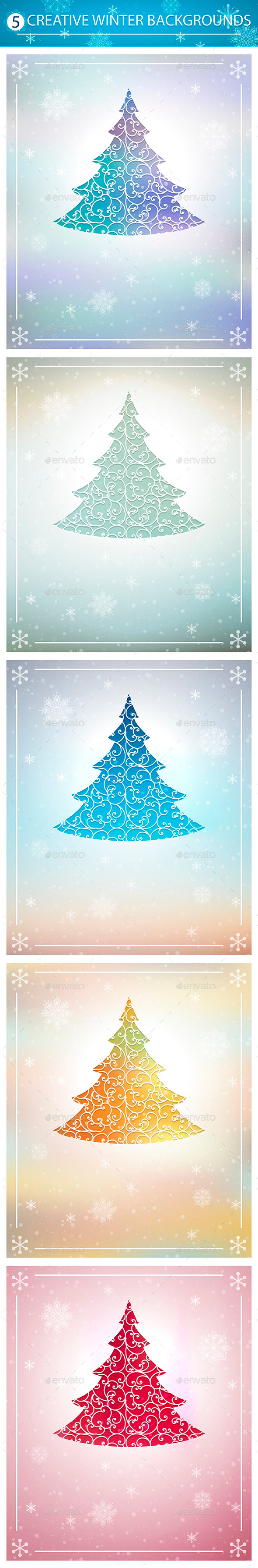 GraphicRiver Winter Backgrounds Set 9319238