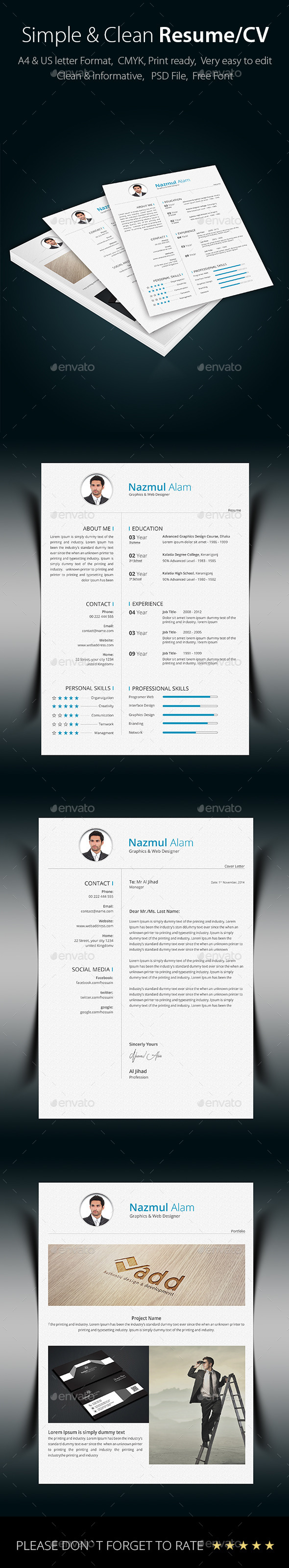 GraphicRiver Simple & Clean Resume CV 9271688