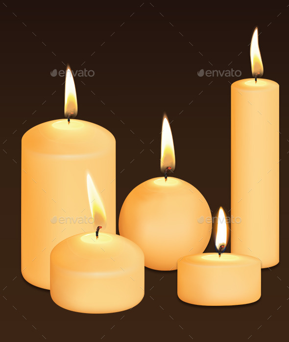 GraphicRiver Set of Candles at Dark 9319886