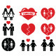 Gay or Lesbian Couple Breakup, Divorce Symbols - GraphicRiver Item for Sale