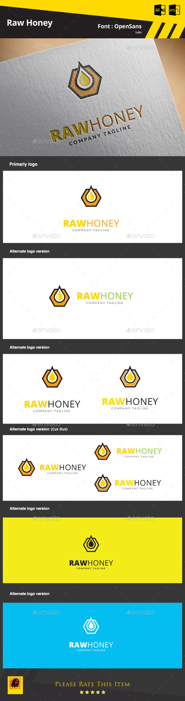 GraphicRiver Raw Honey Logo Template 9320499