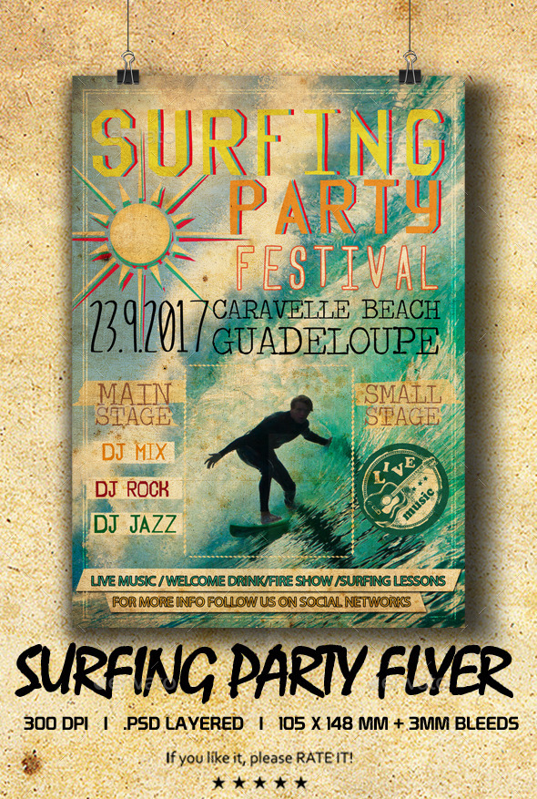 GraphicRiver Surfing Party Flyer 9320841
