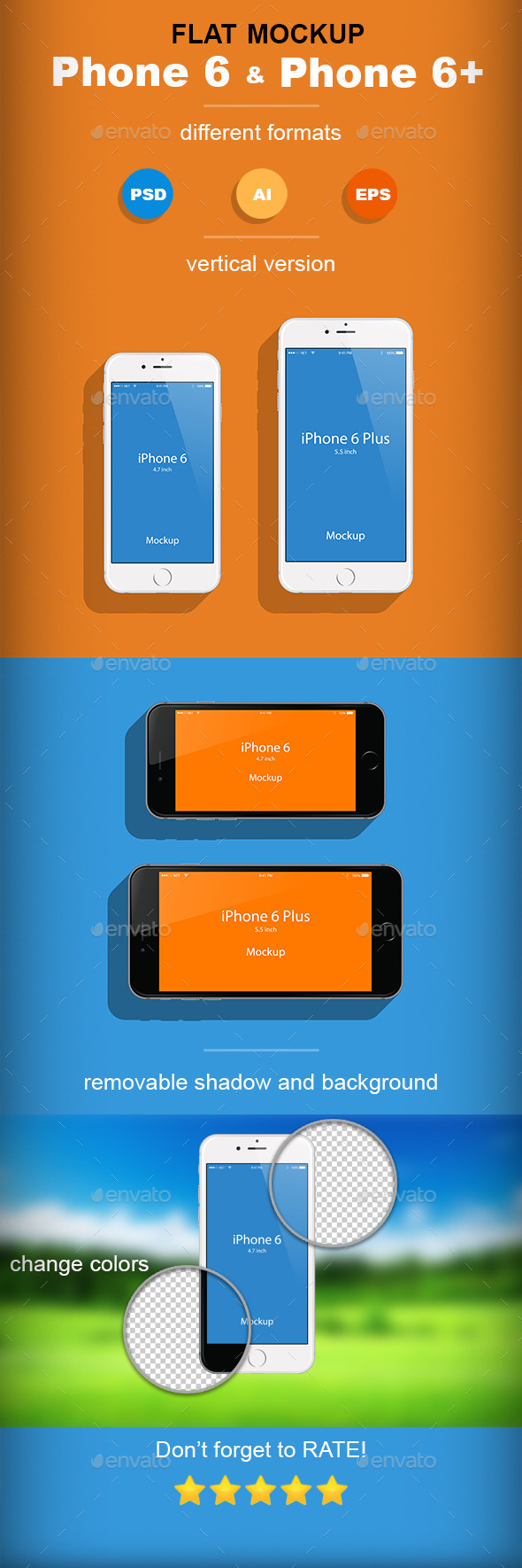 GraphicRiver Flat Phone 6 & Phone 6& Mockup 9269793