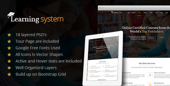 Learning System PSD Template - Corporate PSD Templates
