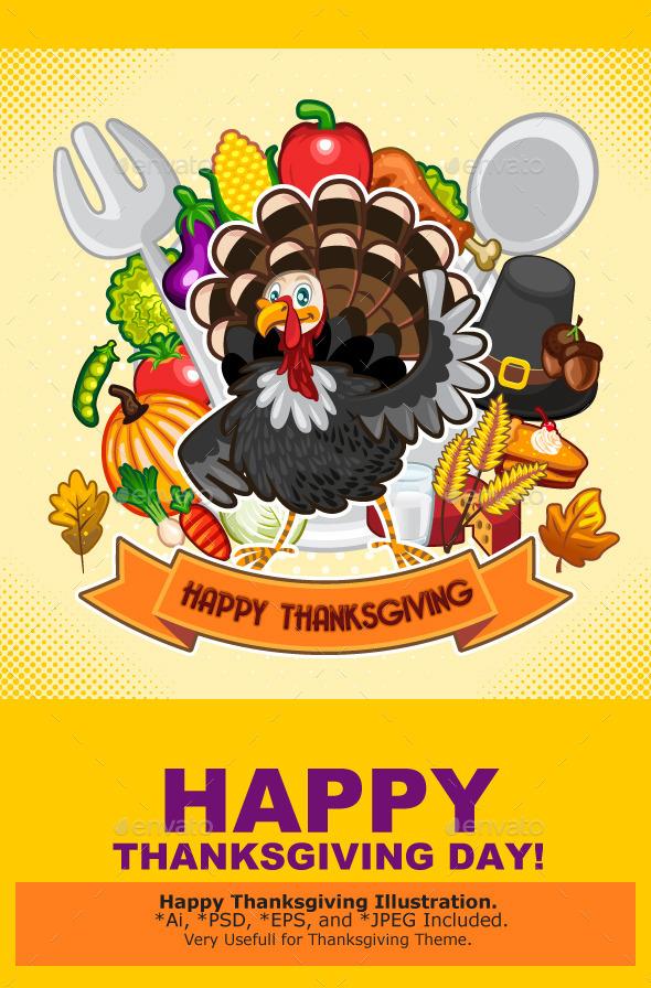 GraphicRiver Happy Thanksgiving Turkey 9321395