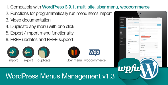 WordPress Menus Management - CodeCanyon Item for Sale