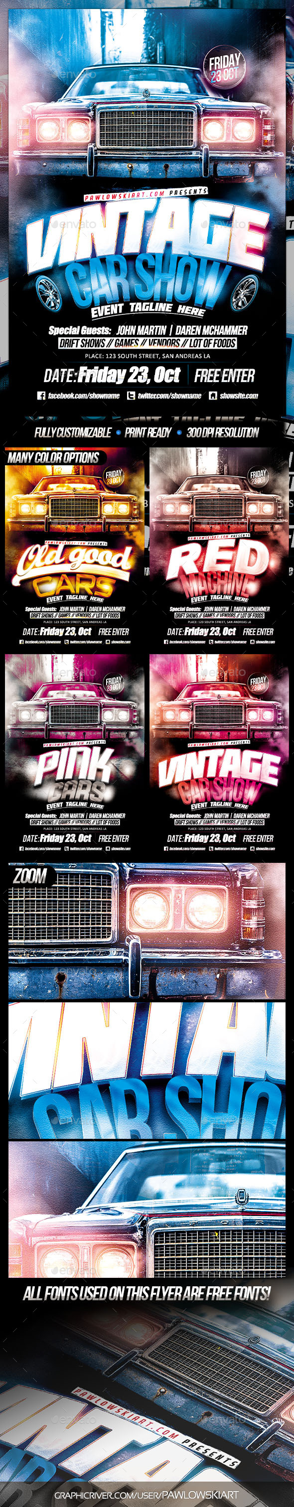 Muscle Car Show Poster Template Free  U00bb Dondrup Com