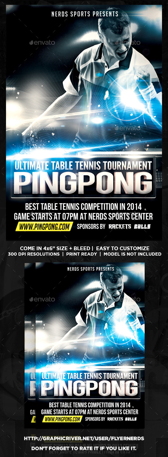 Flyer tennis racquet for Table tennis tournament template