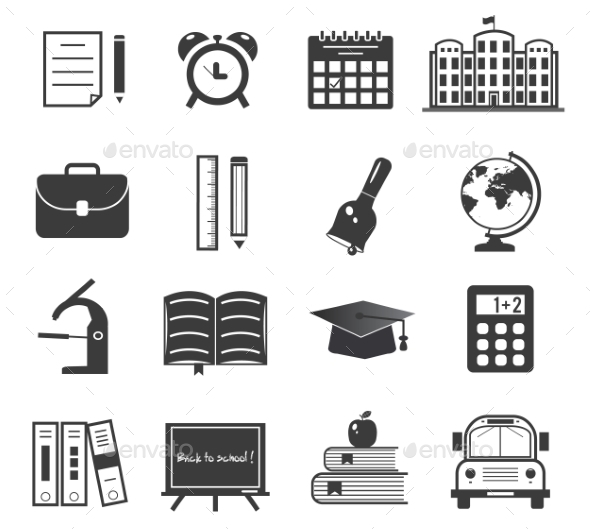 GraphicRiver Back to School Icons Set 9322803
