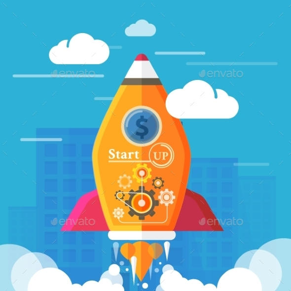 GraphicRiver Business Start Up Rocket 9323189