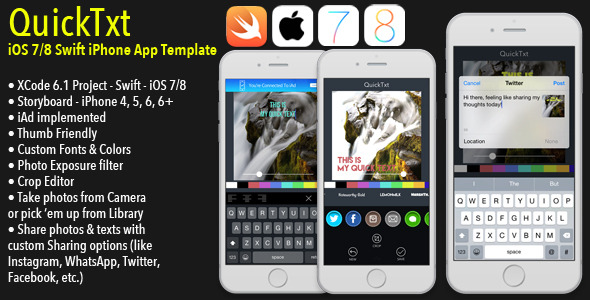 CodeCanyon QuickTxt iOS7 8 iPhone Photo Editor Template 9323318