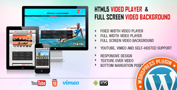 HTML5 VIDEOSPELER full screen video ACHTERGROND vaste breedte videospeler FULL WIDTH videospeler full screen video ACHTERGROND Je YOUTUBE, Vimeo EN ONDERSTEUNING Responsive Design textuur over VIDEO BOHOM NAVIGATION nwo