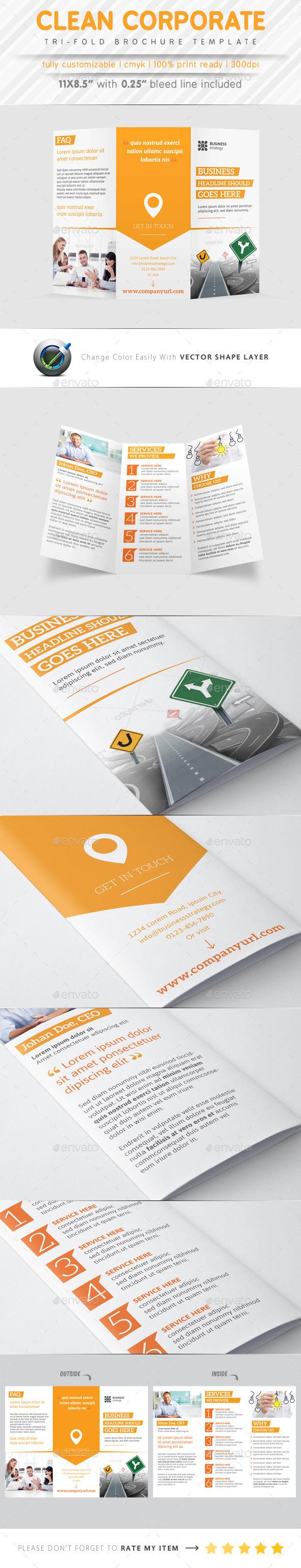GraphicRiver Clean Corporate Tri Fold Brochure 9323435
