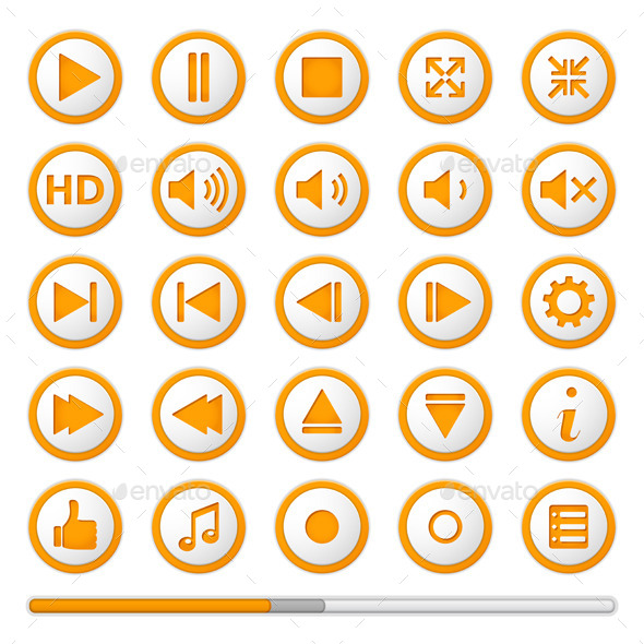GraphicRiver Orange Media Player Buttons 9323612
