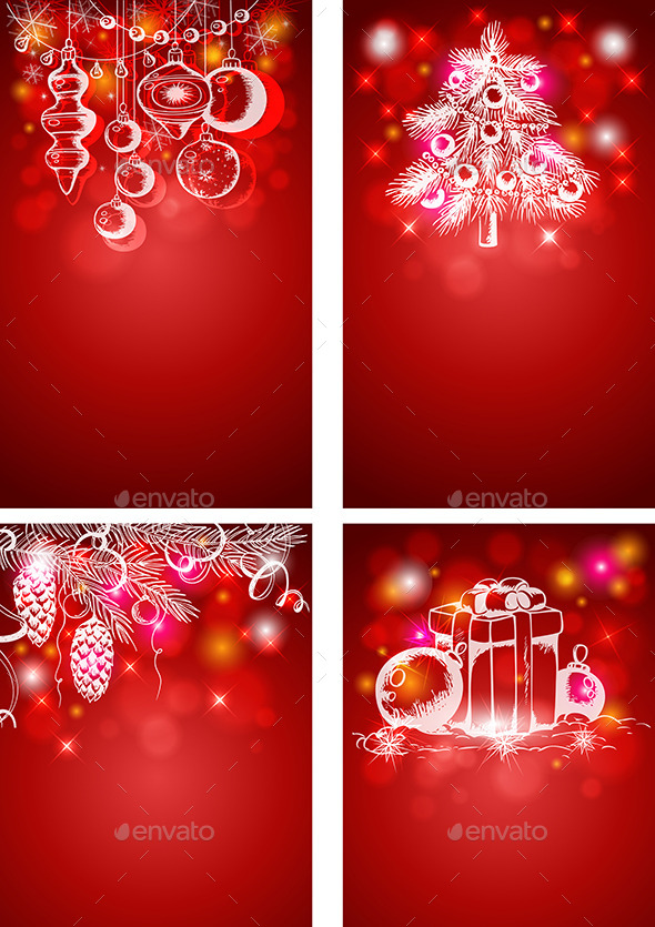 GraphicRiver Red Christmas Vertical Backgrounds 9323625