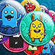 Cute Monsters - Button Badge Set - GraphicRiver Item for Sale
