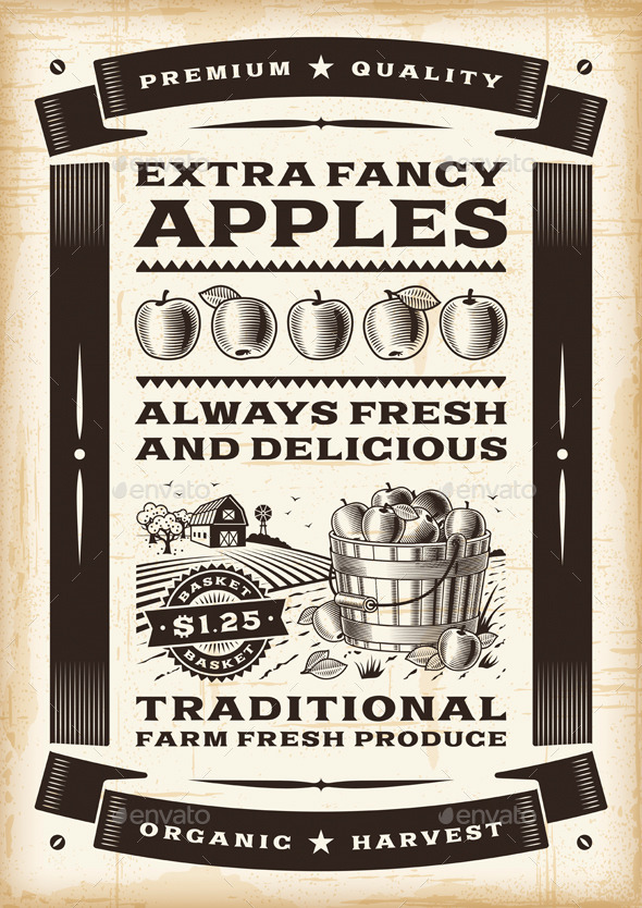 GraphicRiver Vintage Apple Harvest Poster 7200257