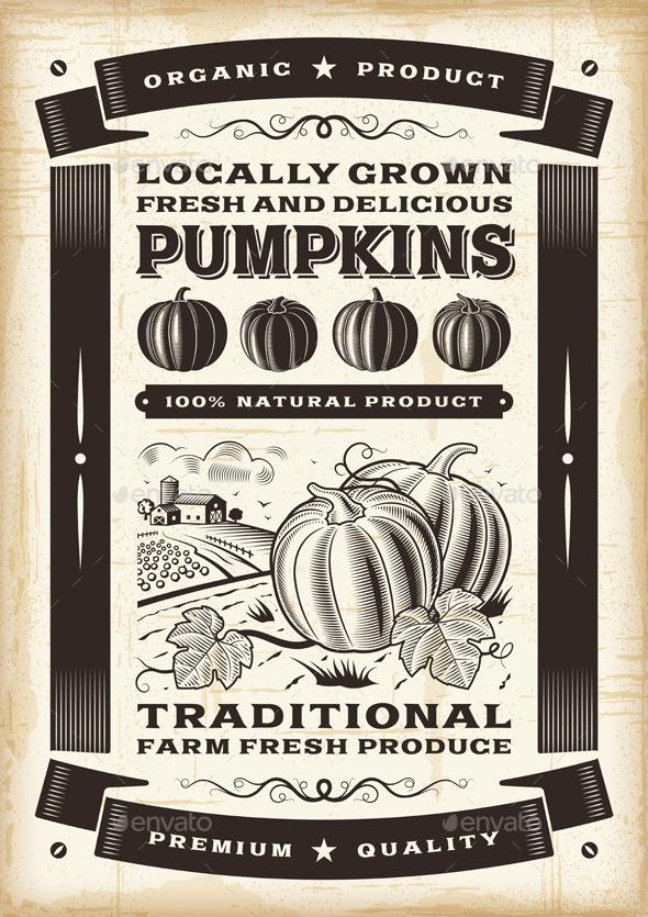 GraphicRiver Vintage pumpkin harvest poster 9324372