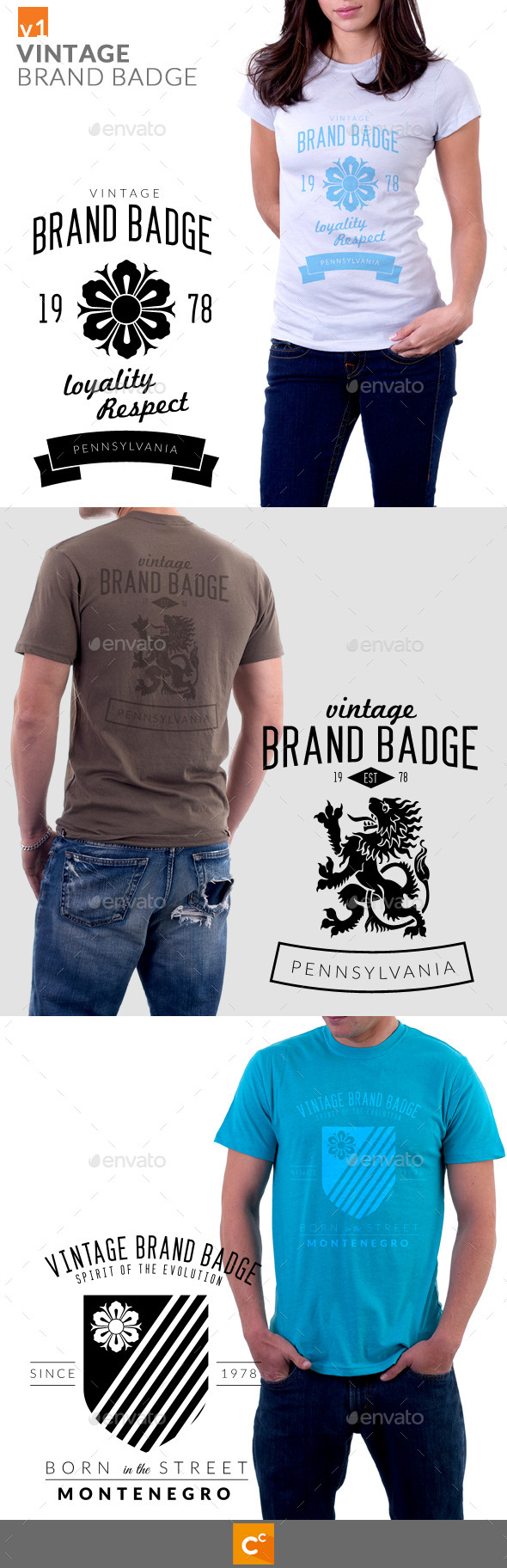 GraphicRiver Vintage Brand Badge T-Shirt 9324389
