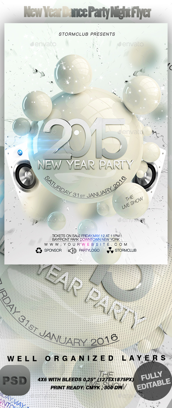 GraphicRiver New Year Dance Party Night Flyer 9324454