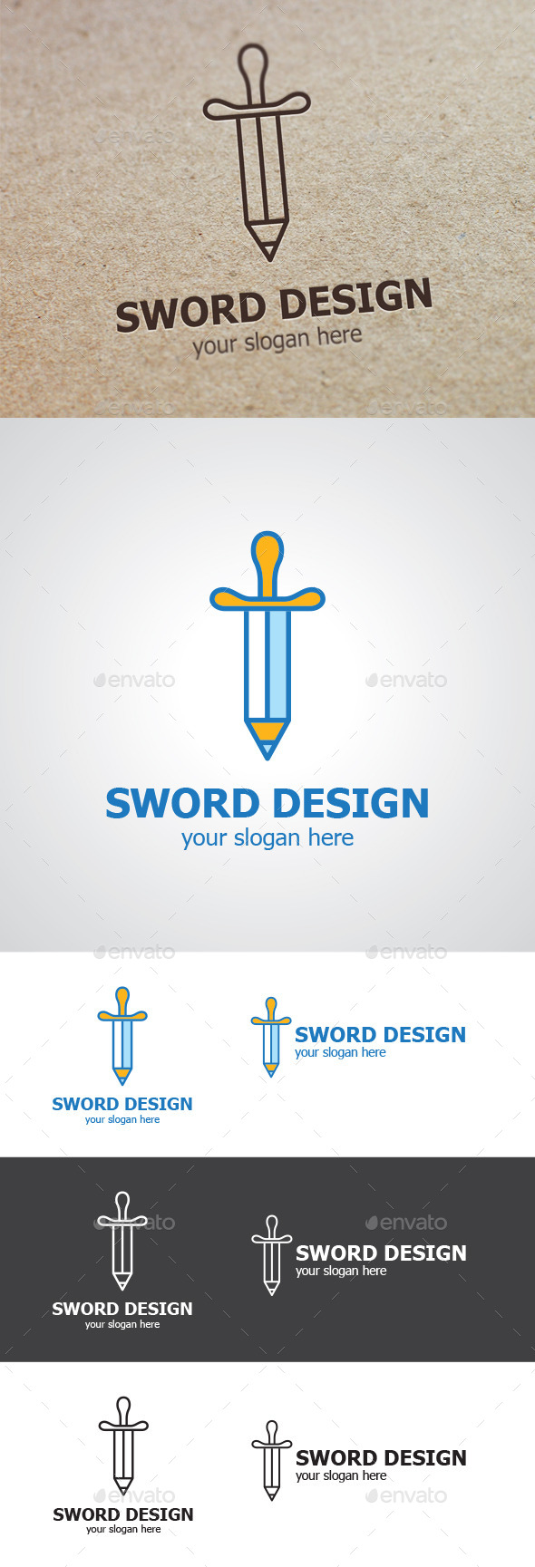 GraphicRiver Pencil Sword Logo 9324597