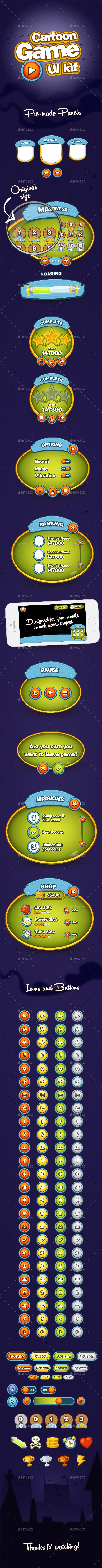 GraphicRiver Cartoon Game UI Kit 9324618