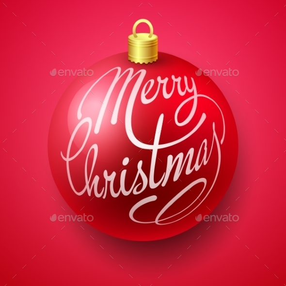 GraphicRiver Merry Christmas Bauble with Lettering Design 9325057