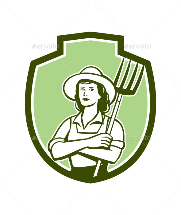 Female Organic Retro Farmer Shield