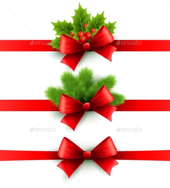 GraphicRiver Red Holiday Ribbon with Bow Holly and Pine 9325061