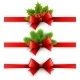 Red Holiday Ribbon with Bow, Holly and Pine  - GraphicRiver Item for Sale