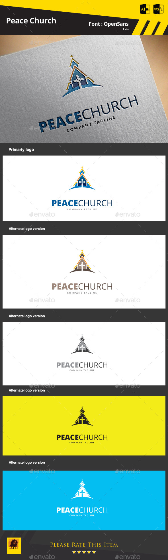 GraphicRiver Peace Church Logo Template 9325082