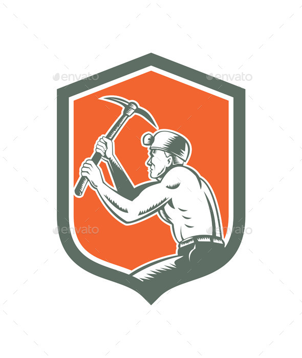 GraphicRiver Coal Miner with Pick Axe Shield 9325107