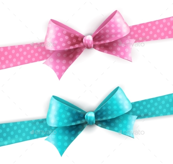 Blue and Pink Polka Dot Bow