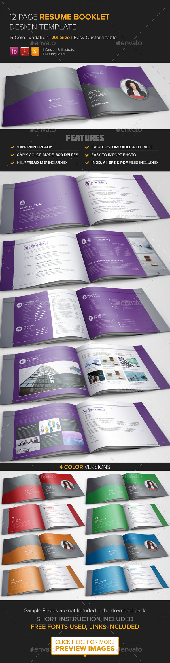 GraphicRiver Resume Booklet Design InDesign 9325386