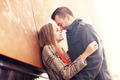Couple kissing during autumn date - PhotoDune Item for Sale