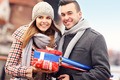 Cheerful young people with Christmas presents - PhotoDune Item for Sale