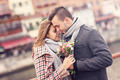 Romantic couple with flowers on a date - PhotoDune Item for Sale