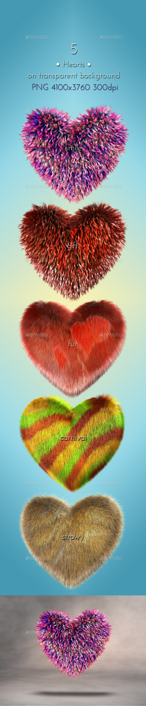 GraphicRiver Gift Hearts 3D 9325486