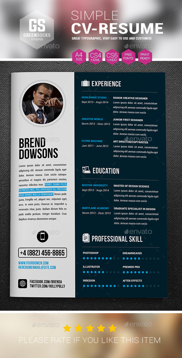 GraphicRiver Simple Resume 9279383