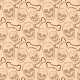 Seamless Pattern with Brown Skulls and Bones  - GraphicRiver Item for Sale