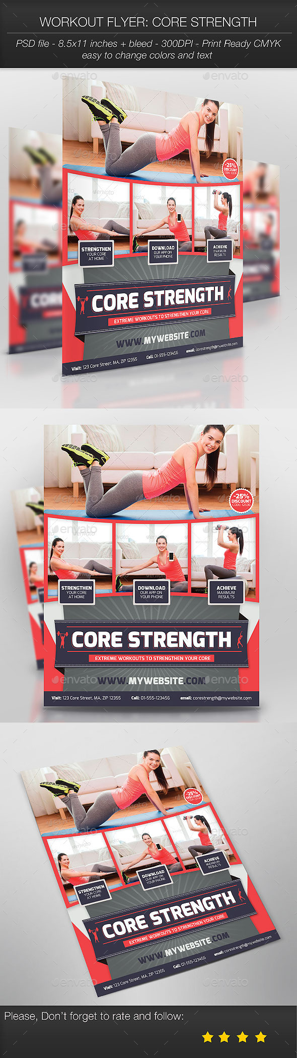 GraphicRiver Workout Flyer Core Strength 9326657