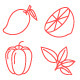 50 Thin Line Stroke Fruit and Vegetable Icons - GraphicRiver Item for Sale